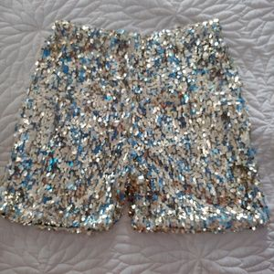 Pants - Gold sparkle sequin high waist shorts